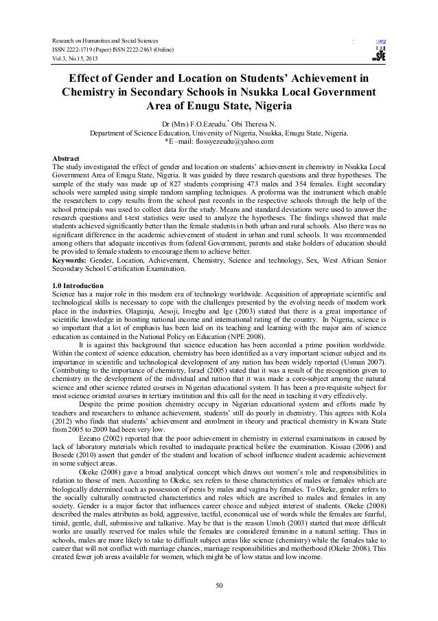 Effect of gender and location on students' achievement in chemistry in secondary schools in nsukka local government area of enugu state, nigeria