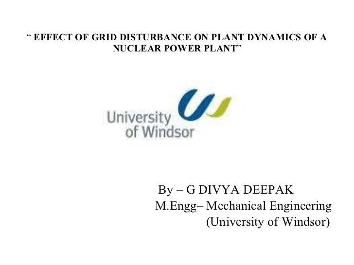 Effect Of Grid Disturbance On Plant Dynamics