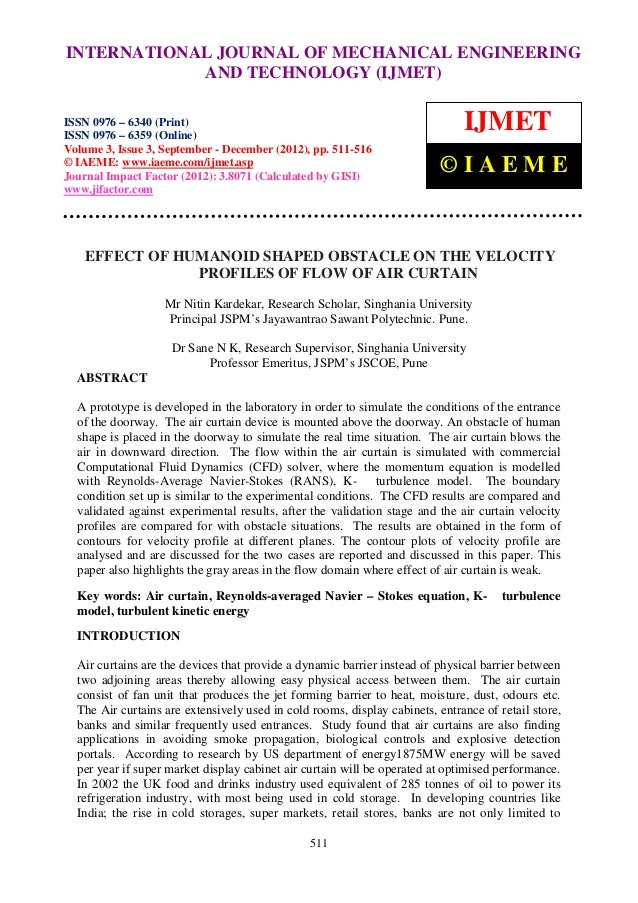 Effect of humanoid shaped obstacle on the velocity