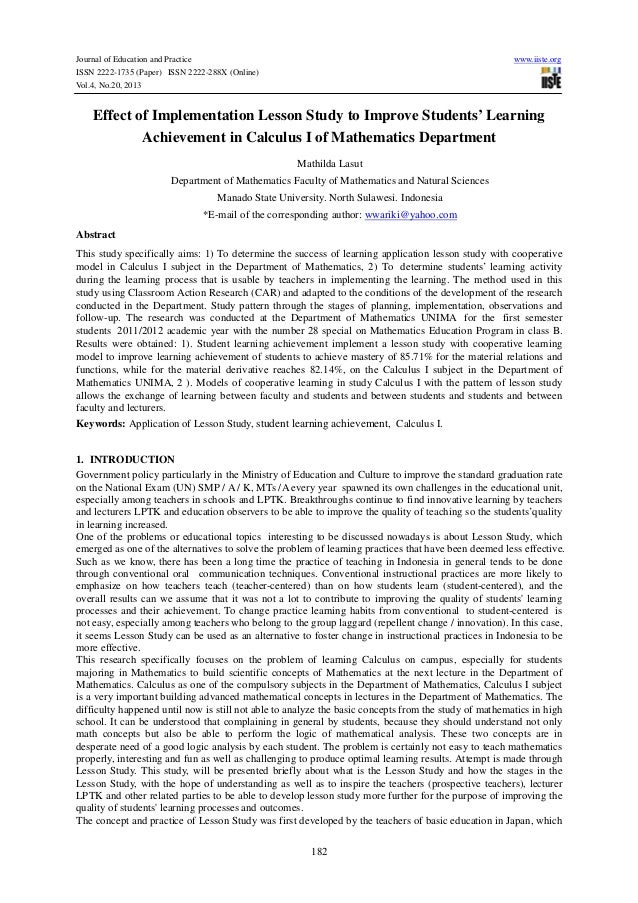 Effect of implementation lesson study to improve students' learning achievement in calculus i of mathematics department