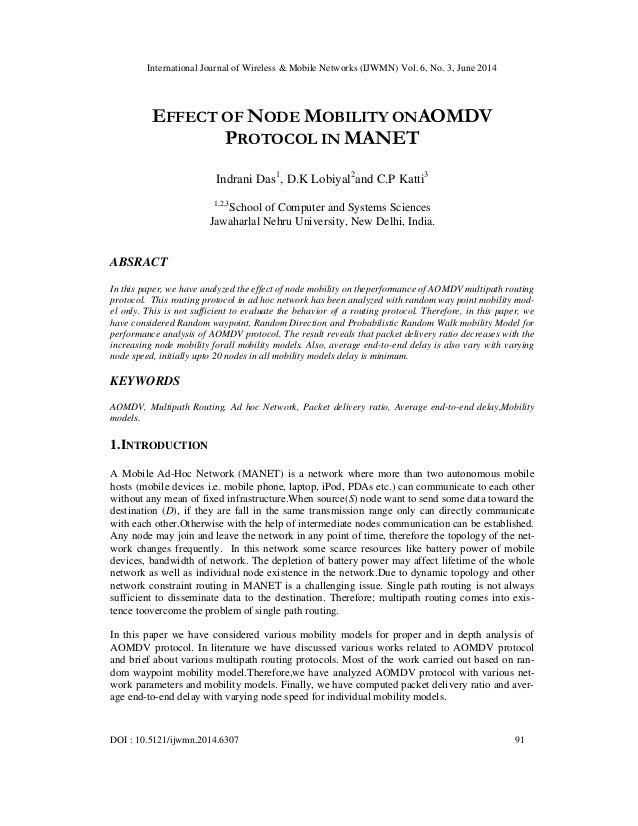 Effect of node mobility onaomdv protocol in manet
