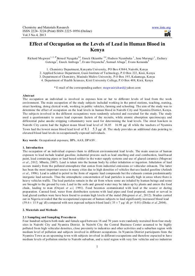 Chemistry and Materials Research www.iiste.orgISSN 2224- 3224 (Print) ISSN 2225- 0956 (Online)Vol.3 No.4, 20131Effect of O...