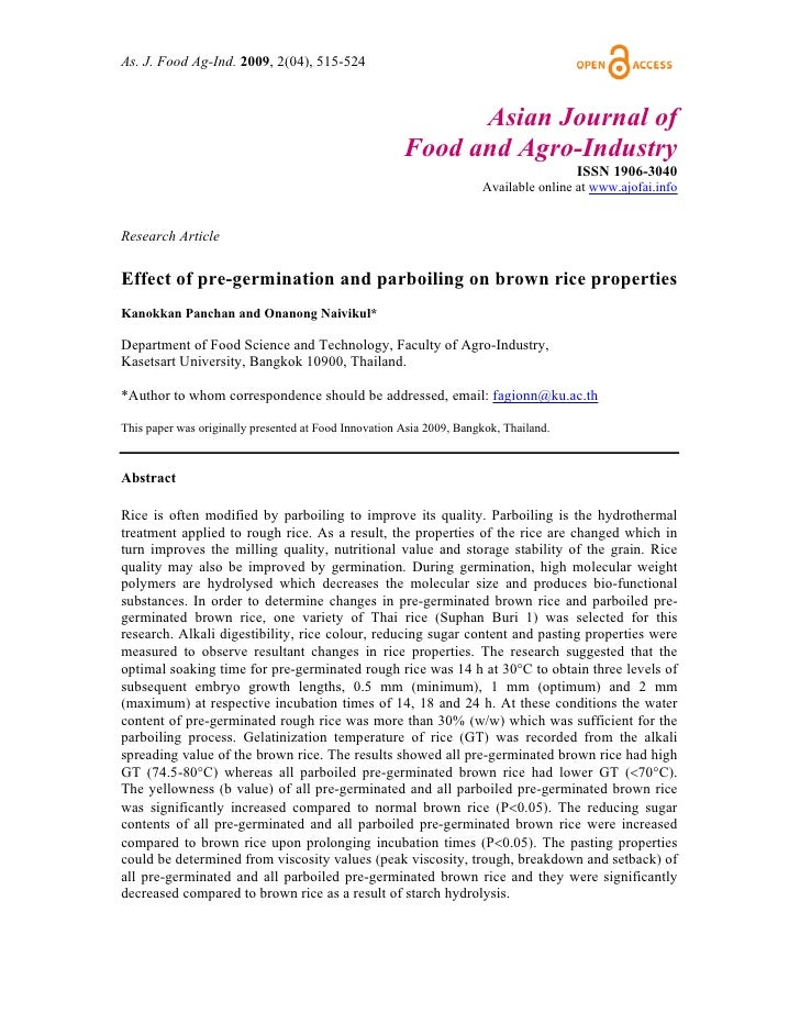 Effect of pre germination and parboiling on brown rice properties