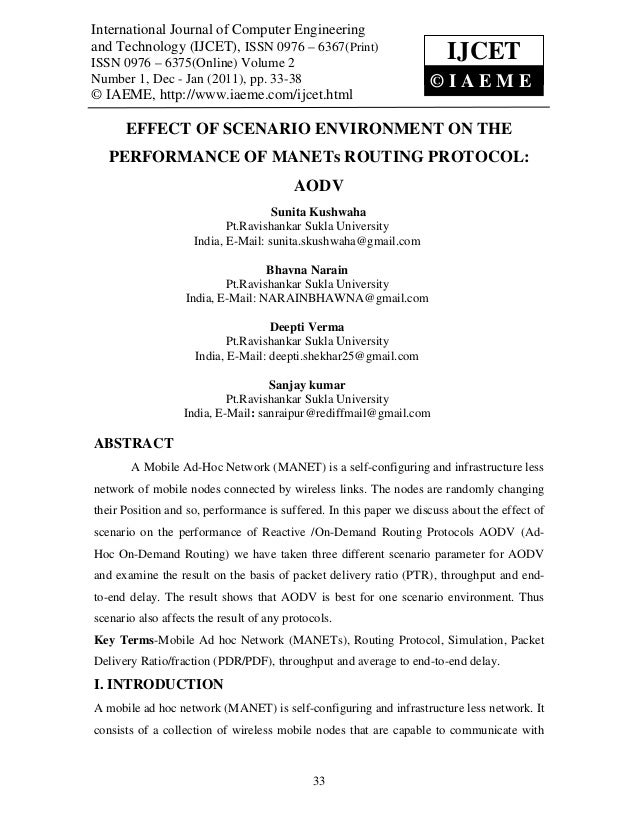 Effect of scenario environment on the performance of mane ts routing