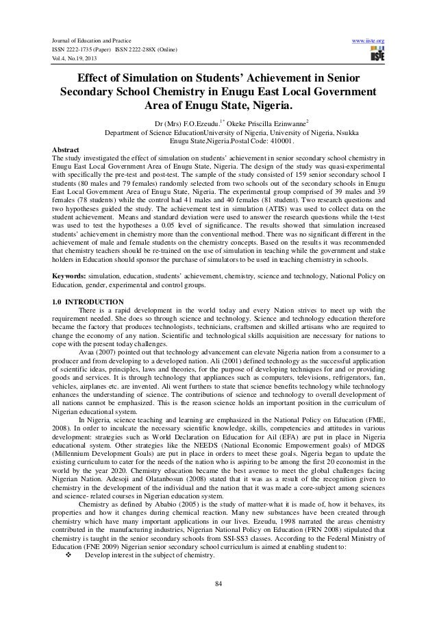 Effect of simulation on studentsí  achievement in senior secondary school chemistry in enugu east local government area of enugu state, nigeria.