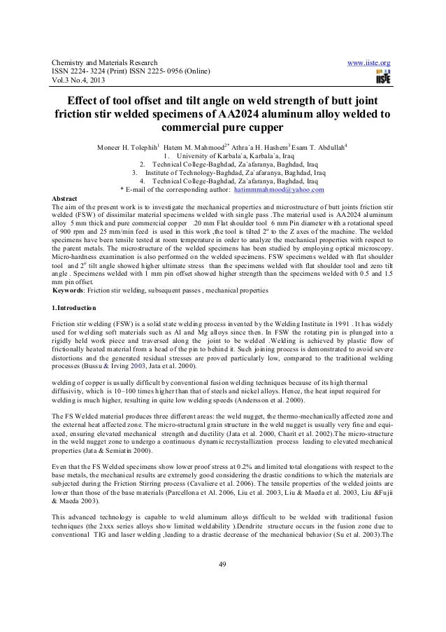 Chemistry and Materials Research www.iiste.orgISSN 2224- 3224 (Print) ISSN 2225- 0956 (Online)Vol.3 No.4, 201349Effect of ...
