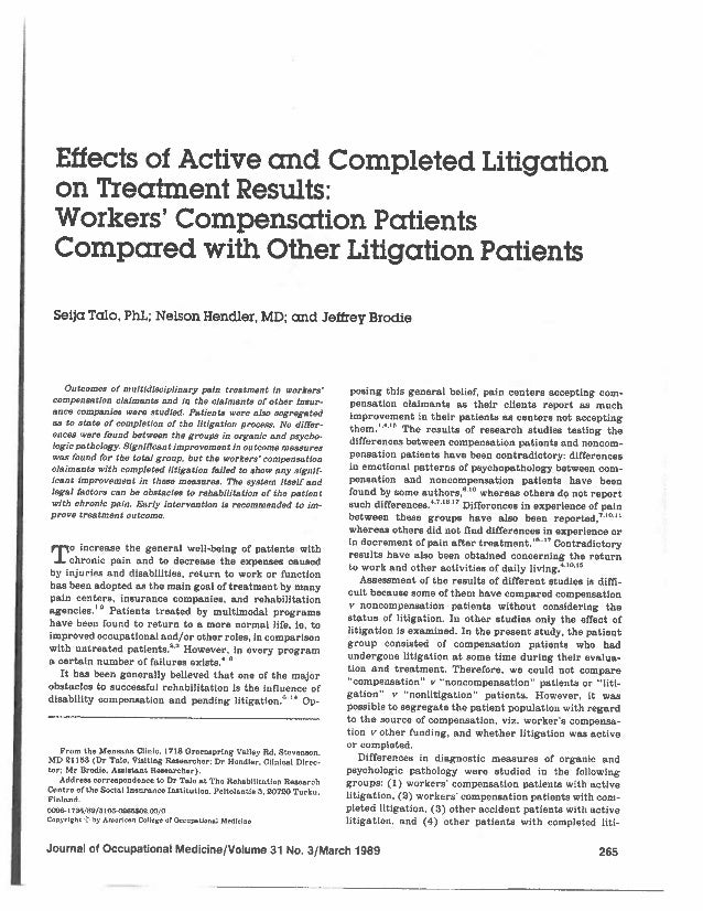 Effect of types of litigation on rtw
