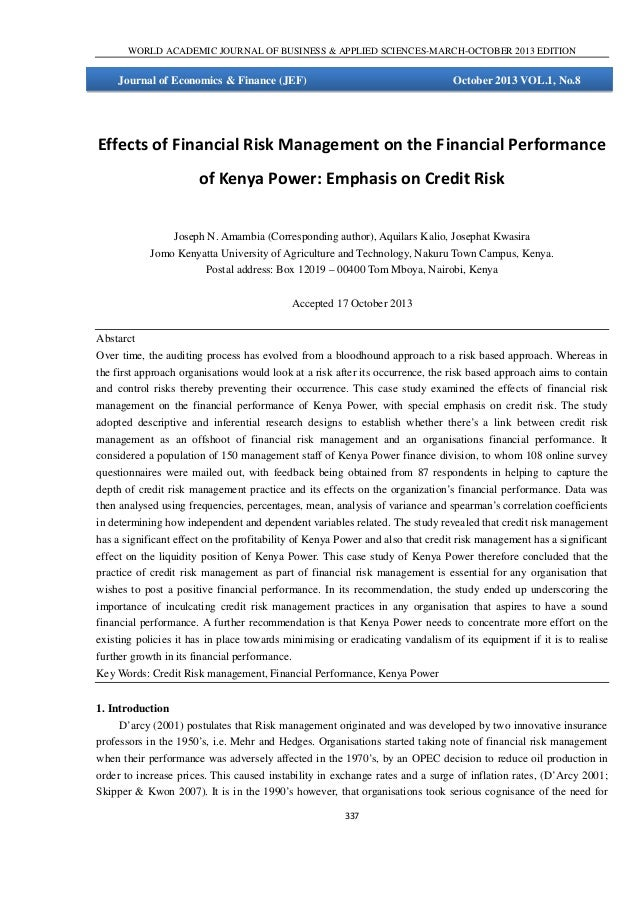 WORLD ACADEMIC JOURNAL OF BUSINESS & APPLIED SCIENCES-MARCH-OCTOBER 2013 EDITION  Journal of Economics & Finance (JEF)  Oc...
