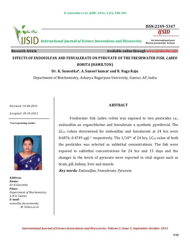 Effects of endosulfan and fenvalerate on pyruvate of the freshwater fish, labeo rohita (hamilton)