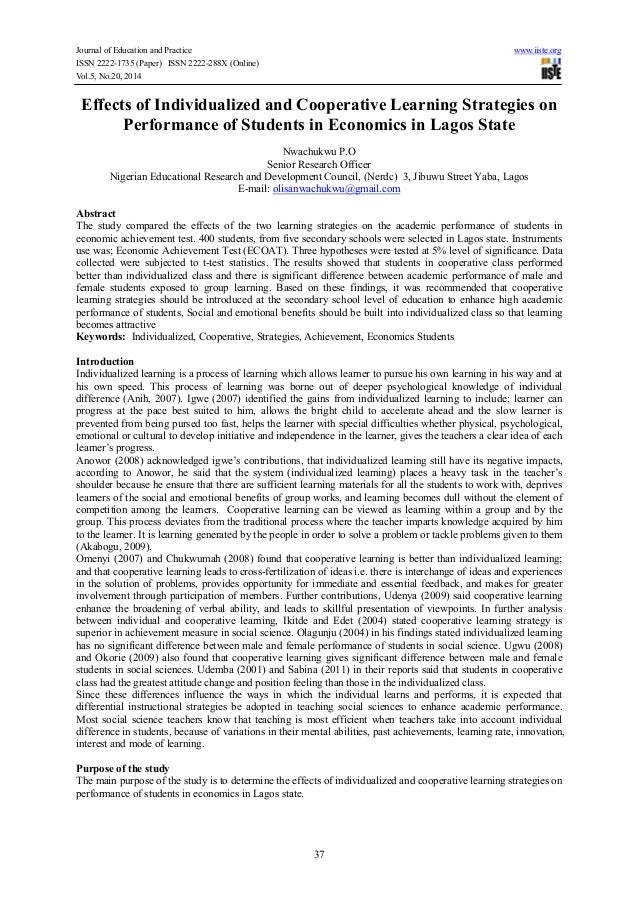 Journal of Education and Practice www.iiste.org ISSN 2222-1735 (Paper) ISSN 2222-288X (Online) Vol.5, No.20, 2014 37 Effec...