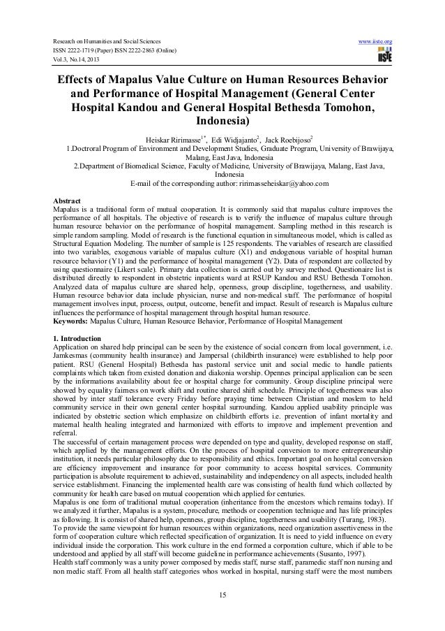 Effects of mapalus value culture on human resources behavior and performance of hospital management