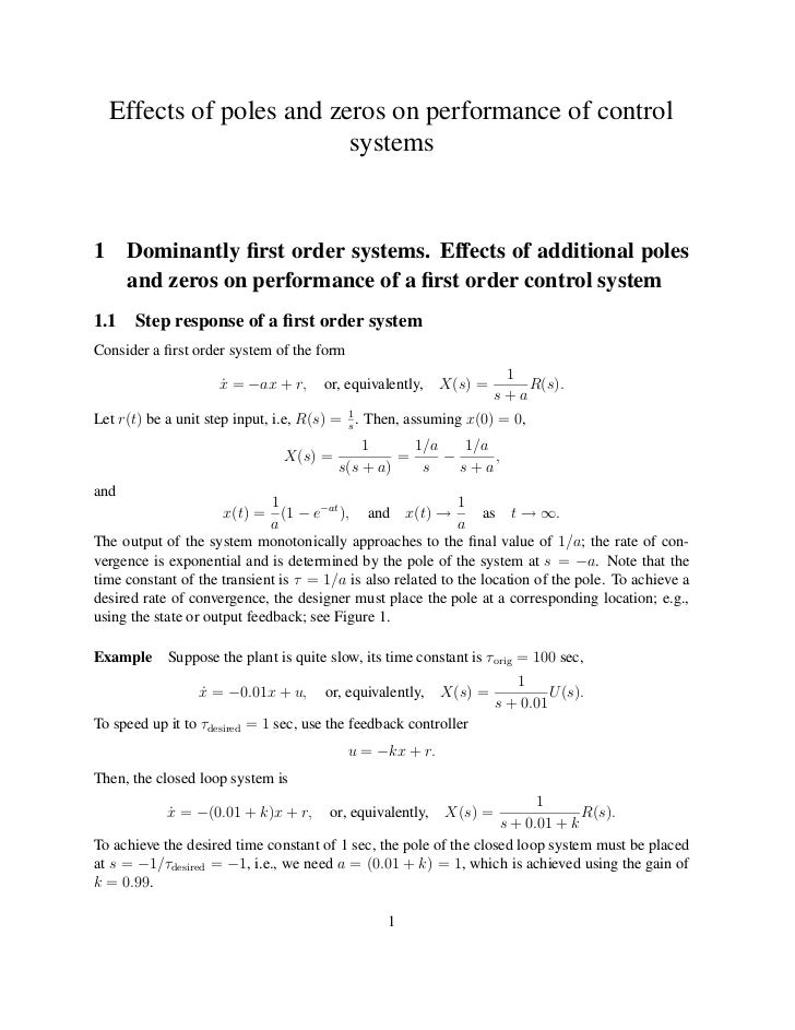 Effects of poles and zeros on performance of control                           systems1     Dominantly first order systems....
