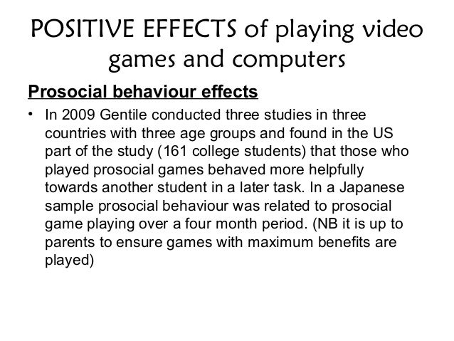 postive impact of playing video games essay Some researchers claim that video games, more  of playing video games:  pattern recognition, system.