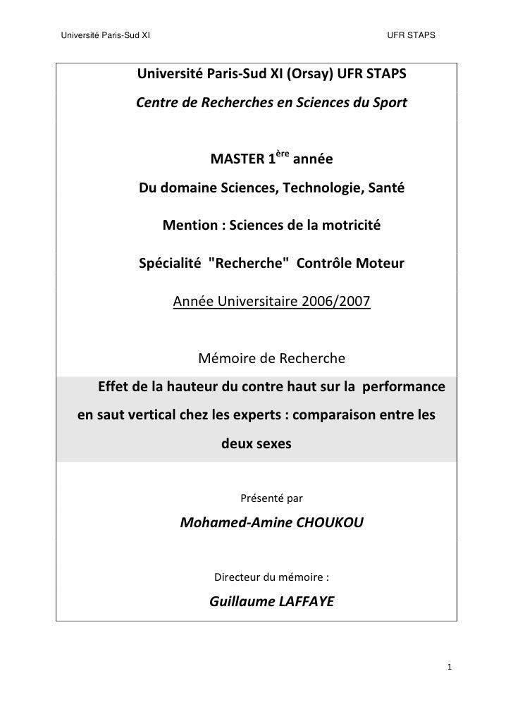 Université Paris-Sud XI                                        UFR STAPS                       Université Paris-Sud XI (Or...