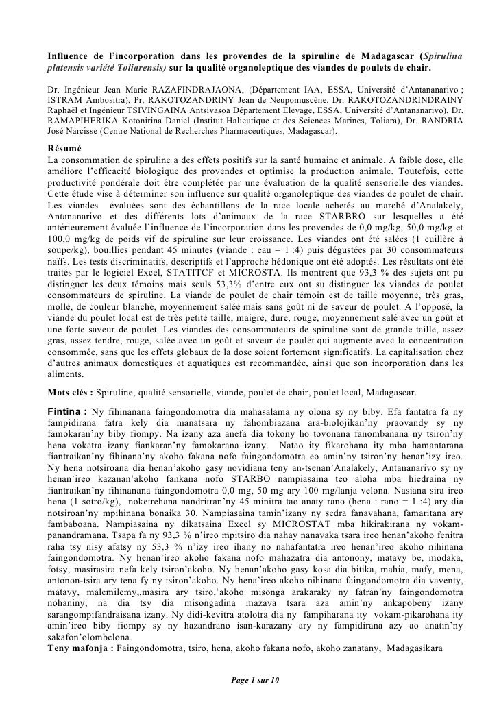 Influence de l'incorporation dans les provendes de la spiruline de Madagascar (Spirulina platensis variété Toliarensis) su...