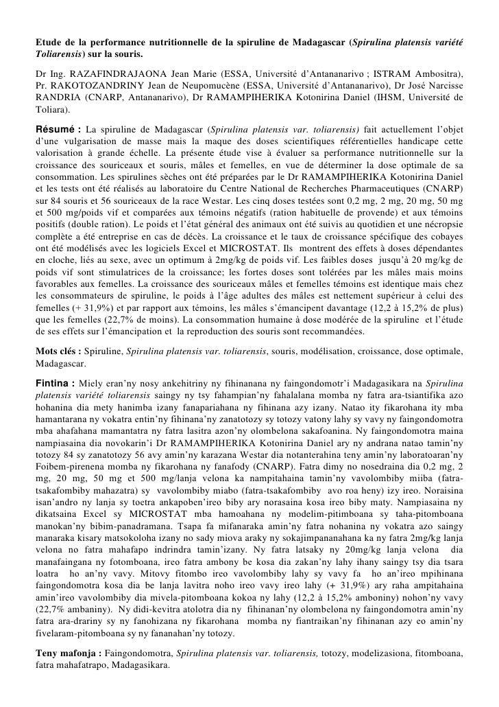 Etude de la performance nutritionnelle de la spiruline de Madagascar (Spirulina platensis variété Toliarensis) sur la sour...