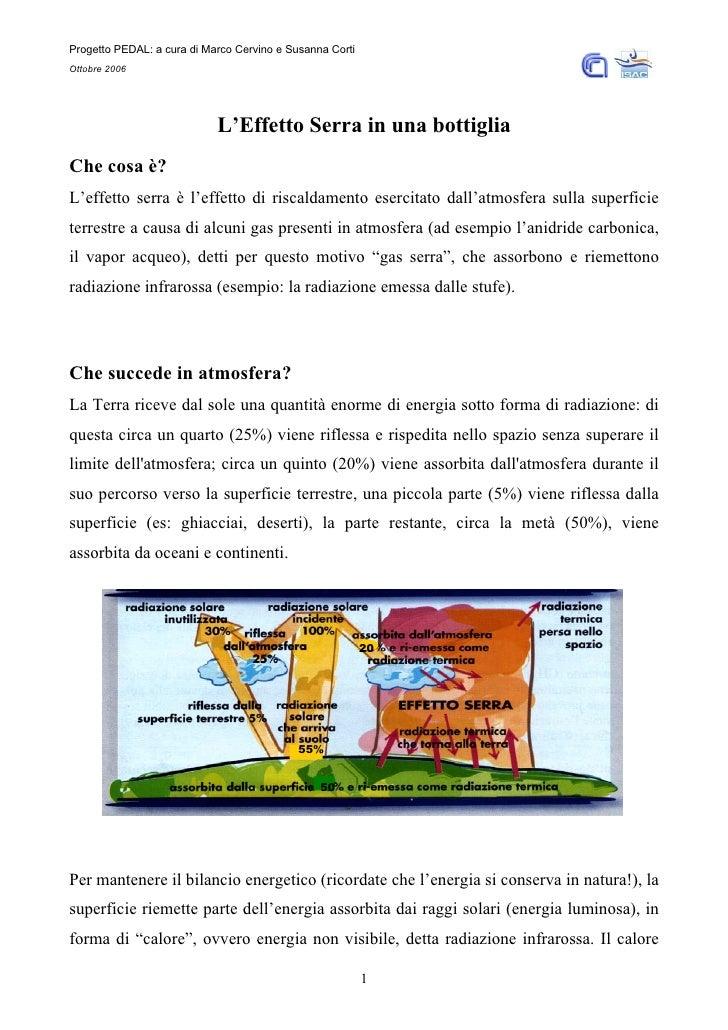 Progetto PEDAL: a cura di Marco Cervino e Susanna Corti Ottobre 2006                                 L'Effetto Serra in un...