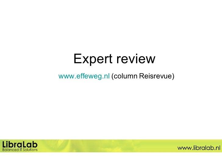 Expert review   www.effeweg.nl  (column Reisrevue)