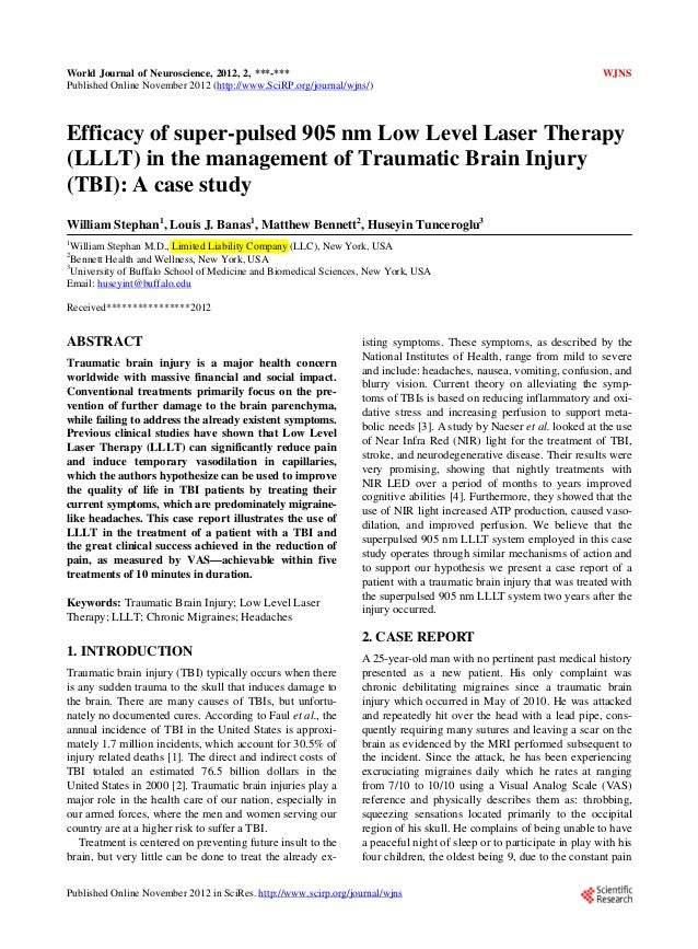 Efficacy of super pulsed 905 nm low level laser therapy (lllt) in the management of traumatic brain injury