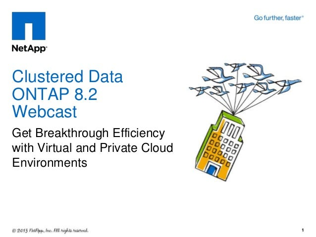 Get Breakthrough Efficiency with Virtual and Private Cloud Environments Clustered Data ONTAP 8.2 Webcast 1