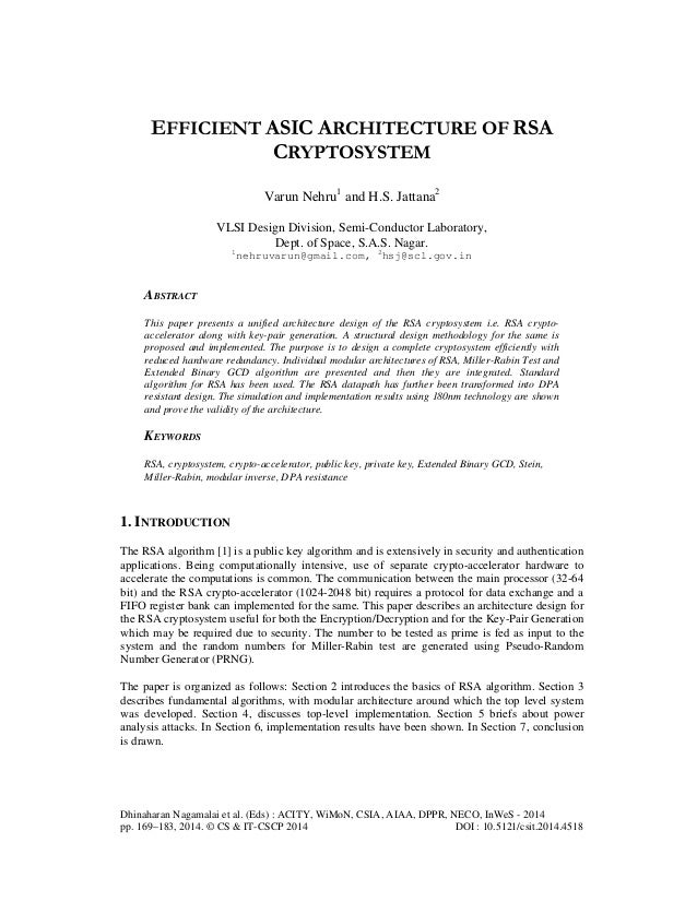 Efficient asic architecture of rsa cryptosystem