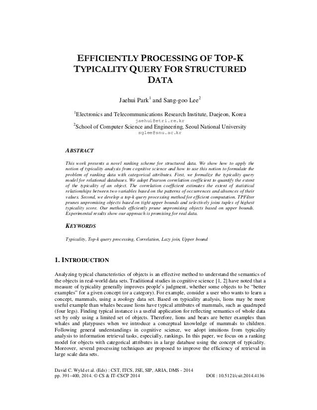 EFFICIENTLY PROCESSING OF TOP-K TYPICALITY QUERY FOR STRUCTURED DATA