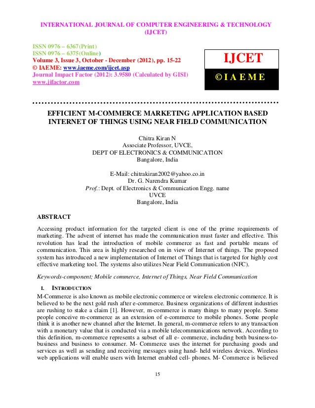 Efficient m commerce marketing application based internet of things using near field communication