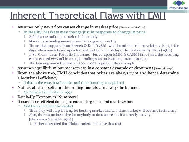 """assumptions and forms of emh finance essay Early evidence on the efficient market hypothesis was  of mutual funds in the period 1945–64,"""" journal of finance23  for an early survey on the three forms."""