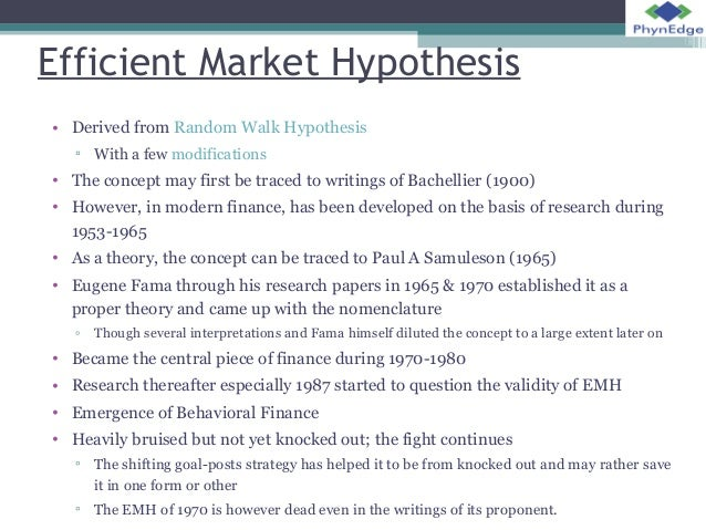 concept of efficient market hypothesis The efficient-market hypothesis is usually discussed in financial contexts, but it can in principle apply—or fail to apply—in any market, including philanthropy if all philanthropists are trying to help others the most and rely upon publicly available information, the efficient-market hypothesis implies that philanthropic resources will.