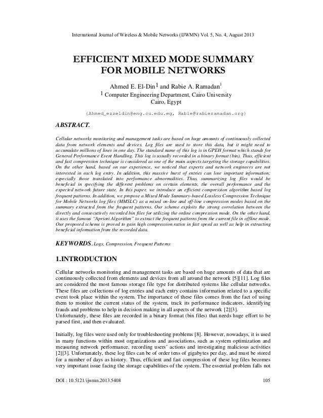 International Journal of Wireless & Mobile Networks (IJWMN) Vol. 5, No. 4, August 2013 DOI : 10.5121/ijwmn.2013.5408 105 E...