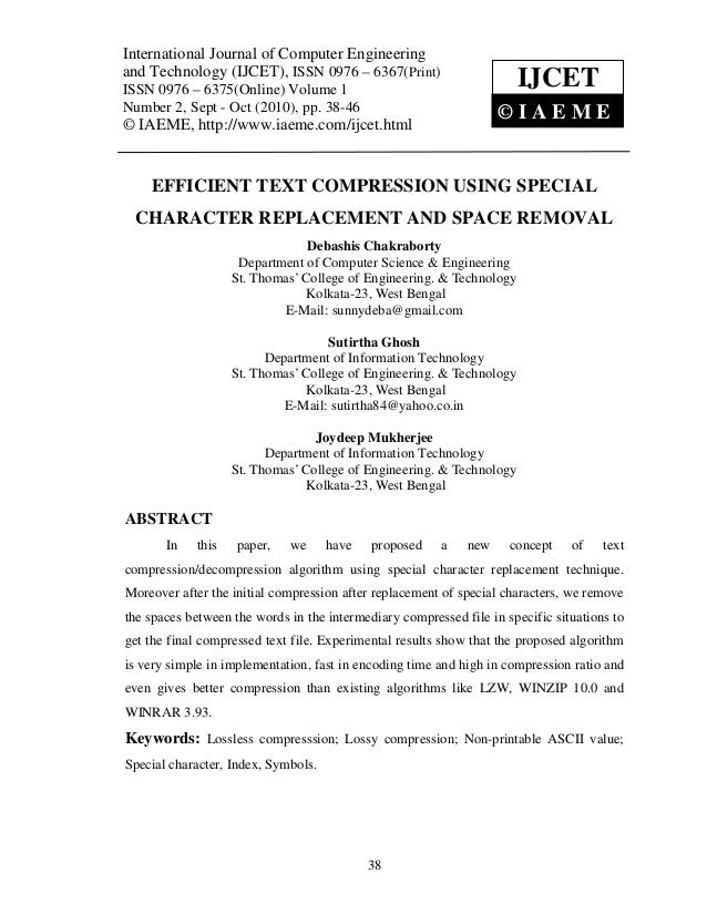 Efficient text compression using special character replacement