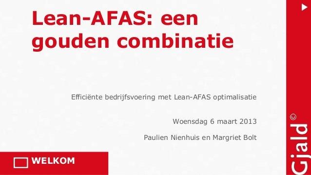 Lean-AFAS: eengouden combinatie     Efficiënte bedrijfsvoering met Lean-AFAS optimalisatie                                ...