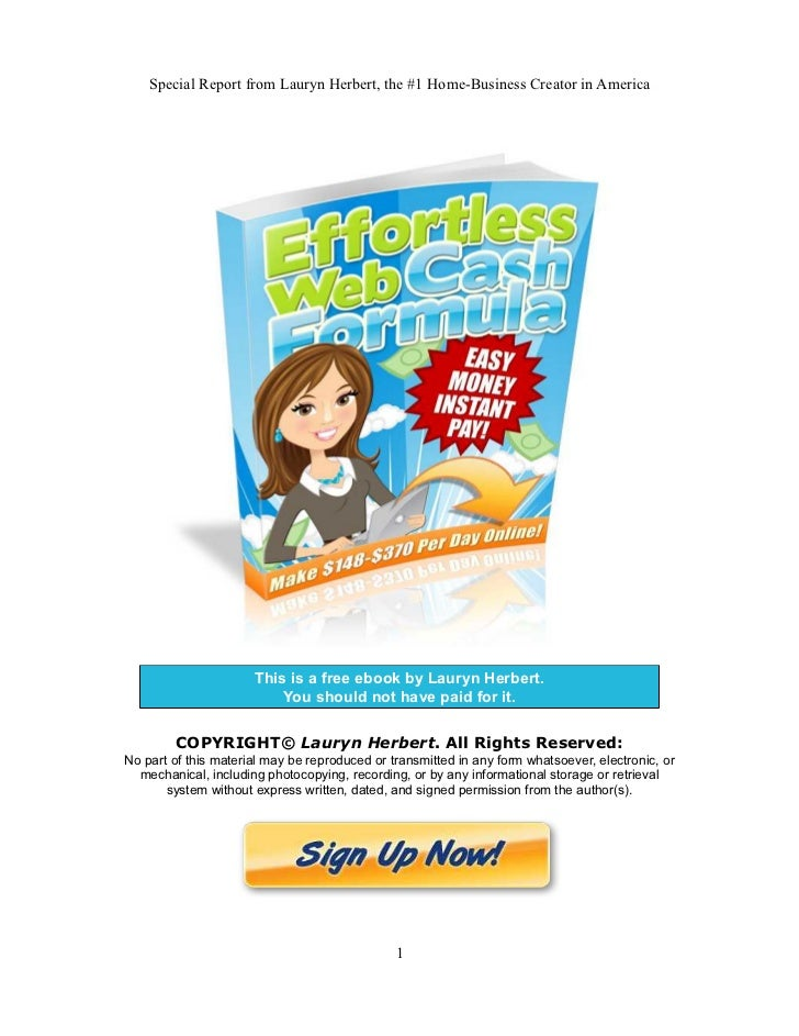 Special Report from Lauryn Herbert, the #1 Home-Business Creator in America                      This is a free ebook by L...