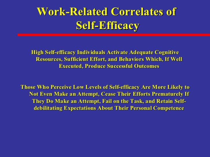 High Self Efficacy High Self-efficacy