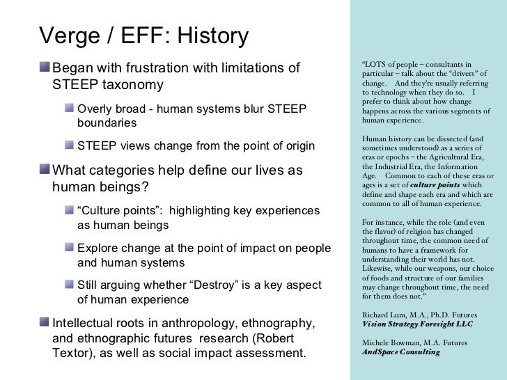 Summary of VERGE (ethnographic futures framework devised by Richard Lum and Michele Bowman).
