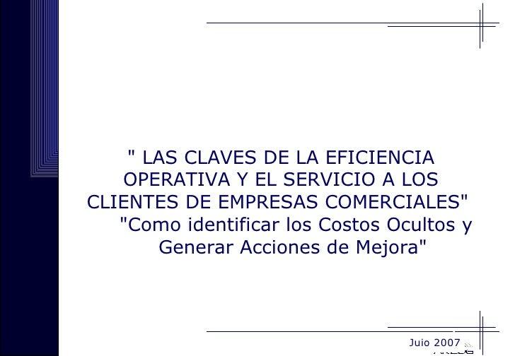 Eficiencia Operativa Y Servicio al Cleinte en Emp Comerciales