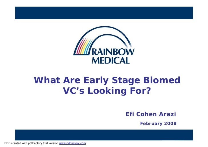 Efi Cohen Arazi  What Are Early Stage Biomed V Cs Looking For