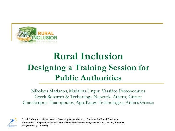 Rural Inclusion    Designing a Training Session for          Public Authorities    Nikolaos Marianos, Madalina Ungur, Vass...