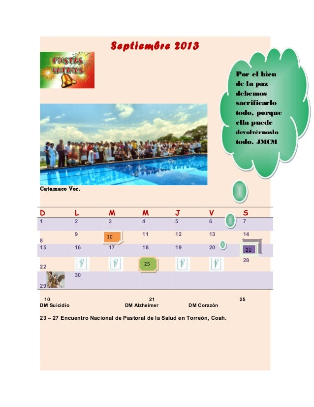 Septiembre 2013 Catamaco Ver. D L M M J V S 1 2 3 4 5 6 7 8 9 11 12 13 14 15 16 17 18 19 20 22 28 29 30 10 21 25 DM Suicid...