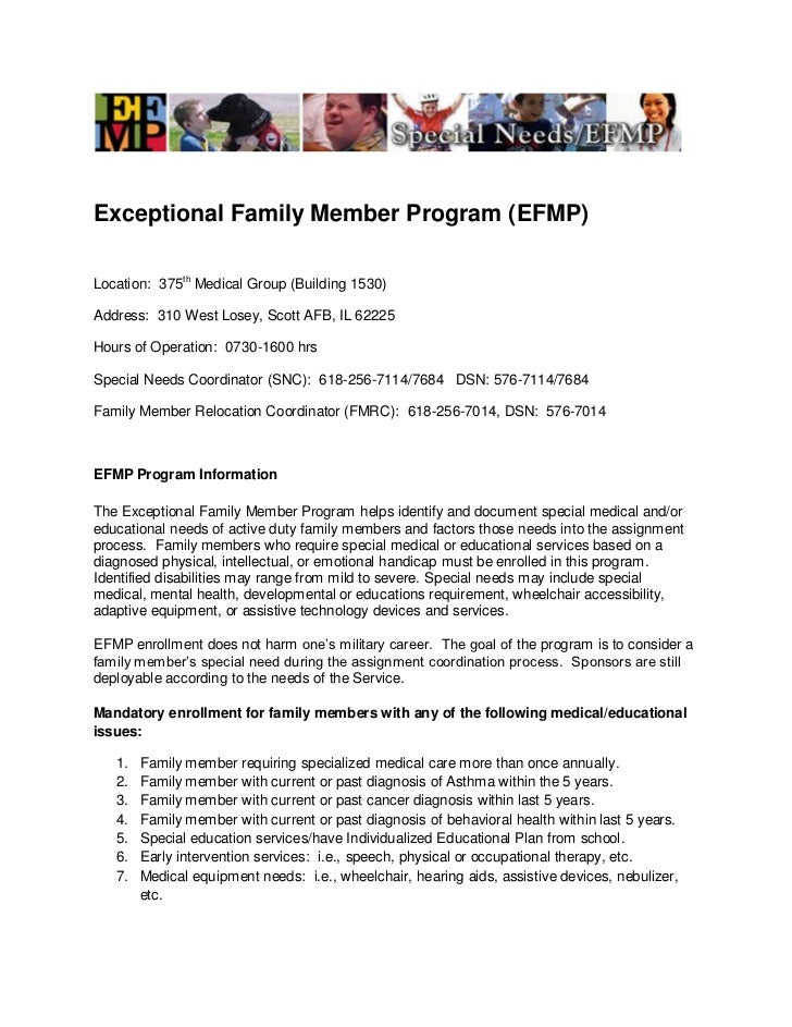 Exceptional Family Member Program (EFMP)Location: 375th Medical Group (Building 1530)Address: 310 West Losey, Scott AFB, I...