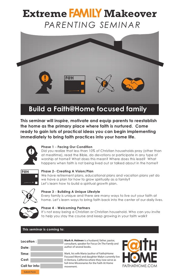 """""""Extreme Family Makeover"""" Parenting Seminar Poster"""