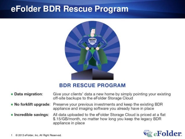 eFolder BDR Rescue Program © 2013 eFolder, Inc. All Right Reserved.1