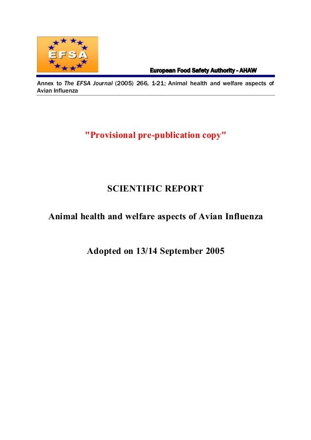 EFSA Scientific report on animal health and welfare aspects of Avian Influenza