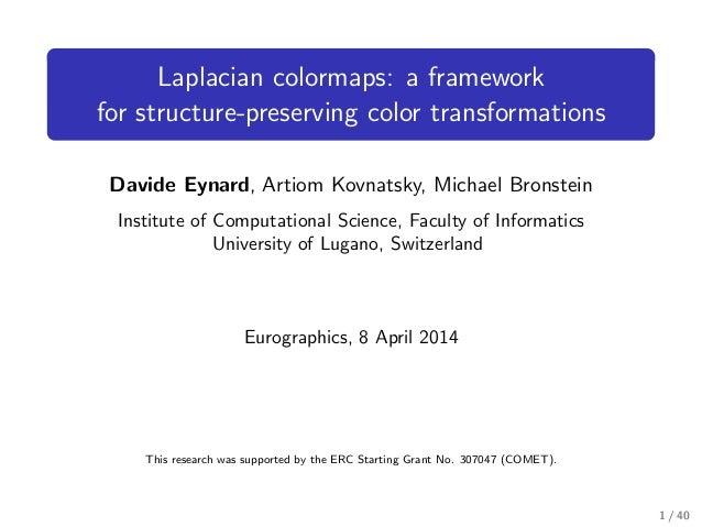 Laplacian colormaps: a framework for structure-preserving color transformations Davide Eynard, Artiom Kovnatsky, Michael B...