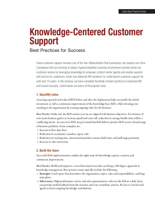 Knowledge-Centered Customer Support