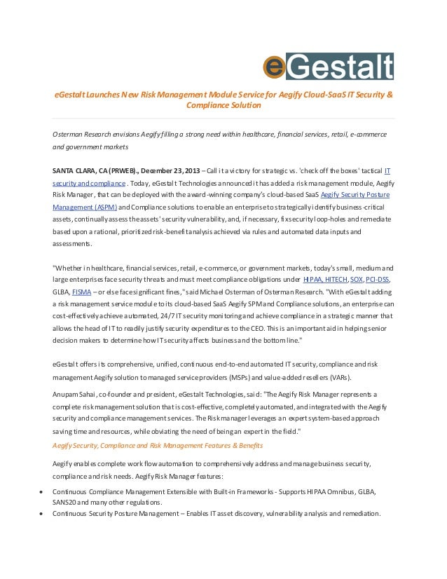eGestalt Launches New Risk Management Module Service for Aegify Cloud-SaaS IT Security & Compliance Solution Osterman Rese...