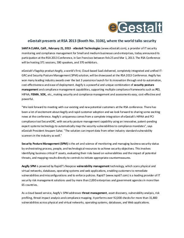 eGestalt presents at RSA 2013, where the world talks security