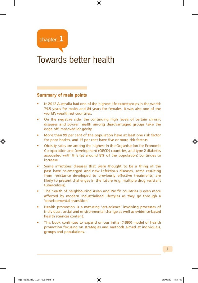 1 chapter 1 Towards better health Summary of main points • In 2012 Australia had one of the highest life expectancies in t...