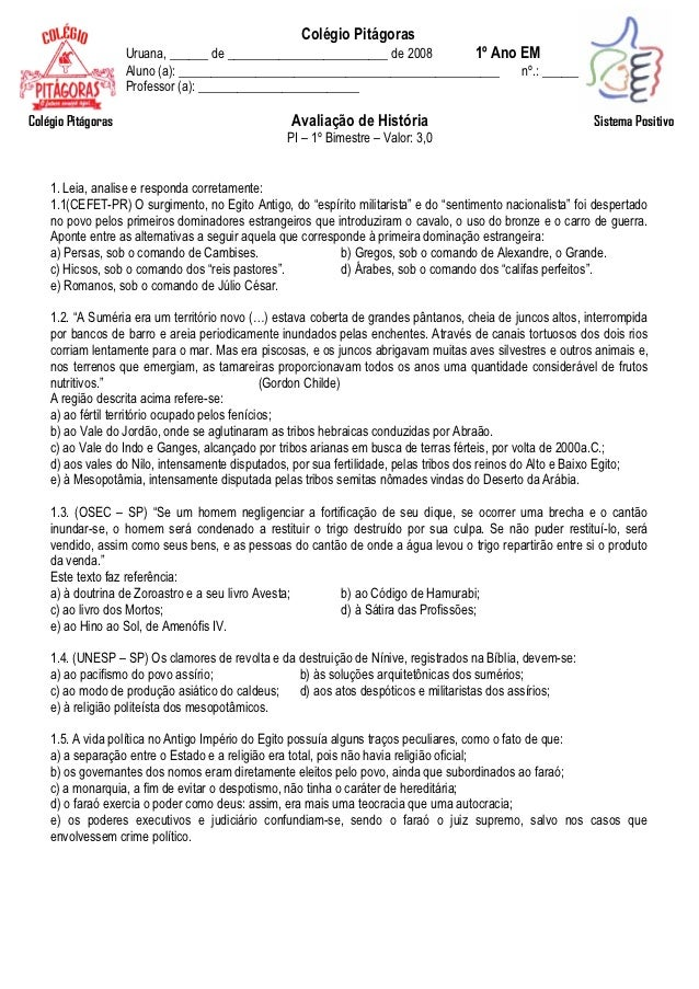 Colégio Pitágoras                    Uruana, ______ de _________________________ de 2008      1º Ano EM                   ...