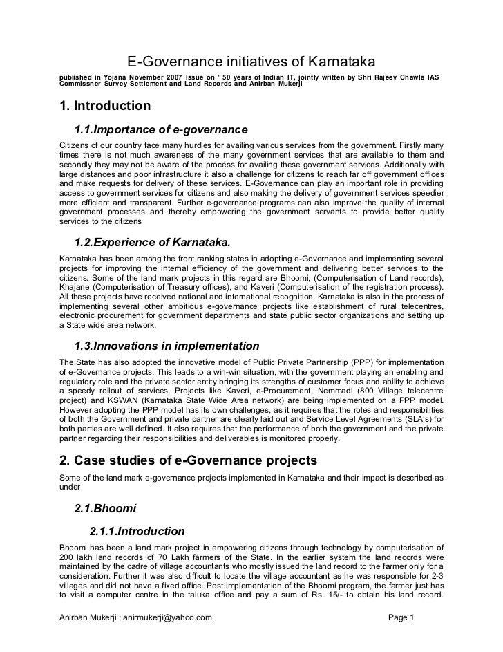 "E-Governance initiatives of Karnataka published in Yojana November 2007 Issue on "" 50 years of Indian IT, jointly written ..."